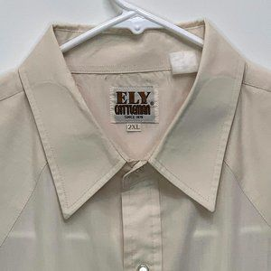 Ely Cattleman Western Pearl Snap Shirt Ivory 2XL